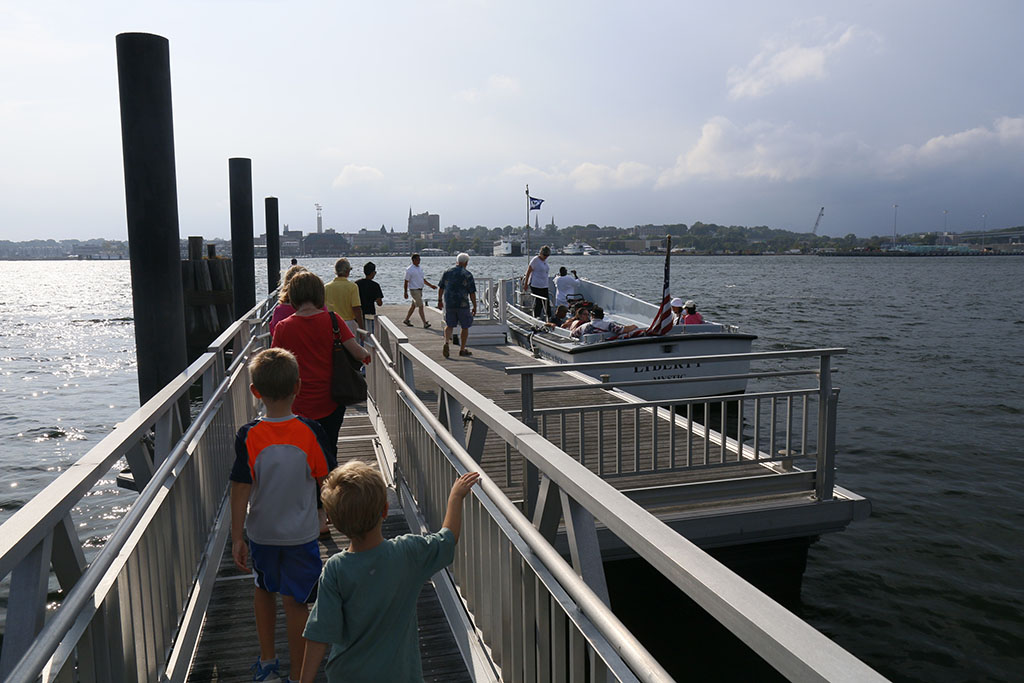 Riders Boarding the Water Taxi Pilot in Summer 2014